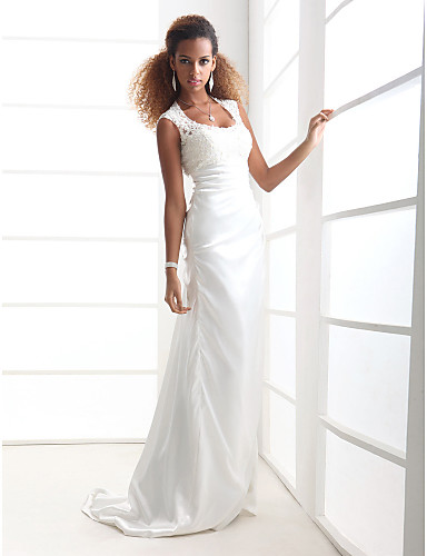 Wedding Dresses 2013 http://www.thdress.com/train-elastic-silk-like-satin-wedding-dress-p4814.html Silhouette: Sheath/Column Neckline: Scoop Waist: Natural Hemline/Train: Court Train Sleeve Length: Sleeveless Embellishments: Lace, Side-Draped Back Details: Zipper Fully Lined: Yes Built-In Bra: Yes Fabric: Charmeuse Shown Color: Ivory Style: Chic & Modern, Elegant & Luxurious, Glamorous & Dramatic Net Weight: 2kg Shipping Weight: 2.48kg